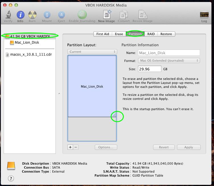 DiskUtility Mac OS X 10.7.5
