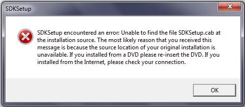 SDKSetup encountered an error