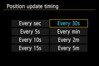 Выбор времени обновления состояния спутников GPS Canon EOS 6D